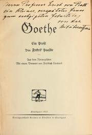 Cover of: Goethe