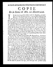 Cover of: Copie de la lettre de Mr. de Montcalm