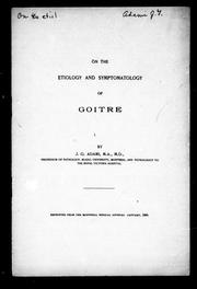 Cover of: On the etiology and symptomatology of goitre