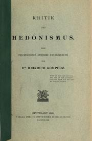 Cover of: Kritik des Hedonismus