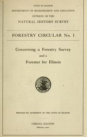 Cover of: Concerning a forestry survey and a forester for Illinois