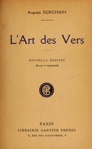 Cover of: L'art des vers
