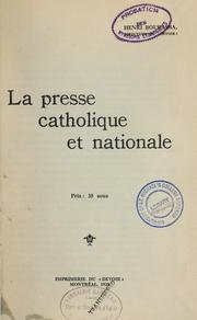 Cover of: La presse catholique et nationale