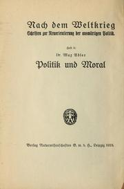 Cover of: Politik und Moral