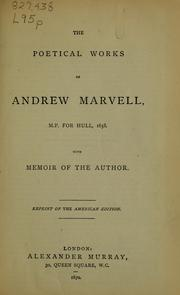 Cover of: The poetical works of Andrew Marvell