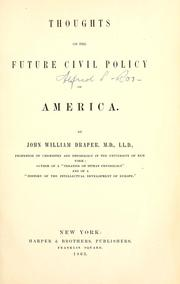 Cover of: Thoughts on the future civil policy of America