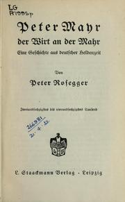 Cover of: Peter Mayr, der Wirt and der Mahr