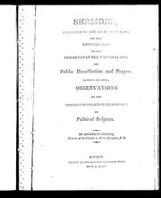 Cover of: Sermons, delivered on the 20th of August, 1812, the day recommended by the President of the United States for public humiliation and prayer