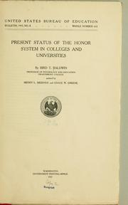 Cover of: Present status of the honor system in colleges and universities