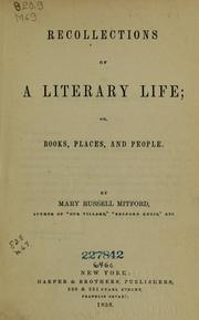 Cover of: Recollections of a literary life, or, Books, places and people