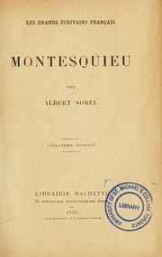 Cover of: Montesquieu