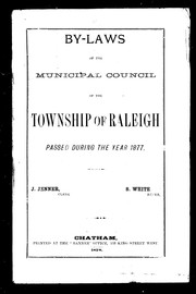 Cover of: By-laws of the Municipal Council of the township of Raleigh, passed during the year 1877