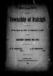 Cover of: By-laws of the township of Raleigh passed from April 26, 1897, to February 14, 1898