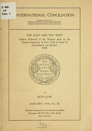 Cover of: The East and the West...