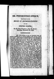 Cover of: Mr. Poindexter's speech, delivered in the House of Representatives of the United States