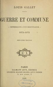 Cover of: Guerre et Commune