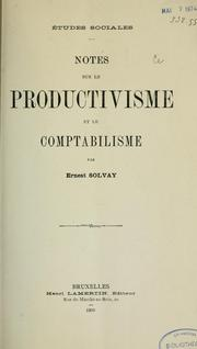 Cover of: Notes sur le productivisme et le comptabilisme