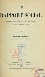 Cover of: Le rapport social