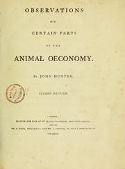 Cover of: Observations on certain parts of the animal oeconomy