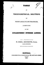 Cover of: Table of trigonometrical solutions of right angle plane triangles