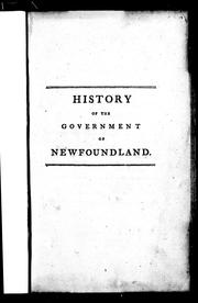 Cover of: History of the government of the island of Newfoundland