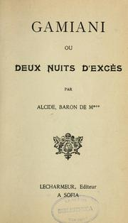 Cover of: Gamiani: ou, Deux nuits d'excès
