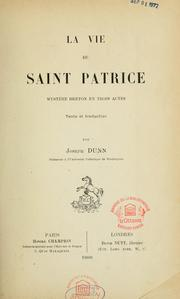 Cover of: La vie de saint Patrice