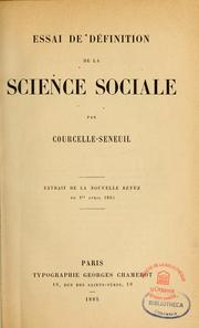 Cover of: Essai de définition de la science sociale