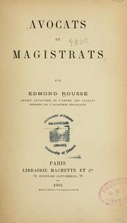 Cover of: Avocats et magistrats \