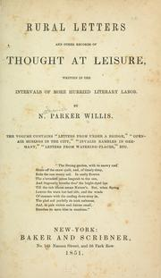 Cover of: Rural letters and other records of thought at leisure