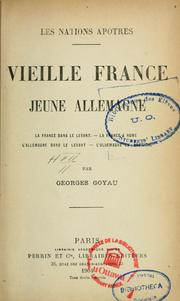 Cover of: Vieille France, jeune Allemagne