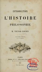 Cover of: Introduction à l'histoire de la philosophie