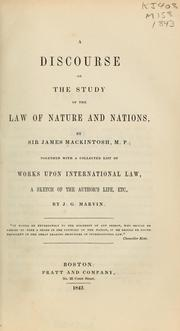 Cover of: A discourse on the study of the law of nature and nations
