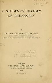 Cover of: A student's history of philosophy