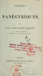 Cover of: Notices et panegyriques