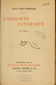 Cover of: L'inquiète paternité