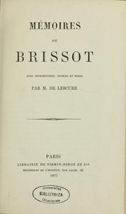 Cover of: Mémoires de Brissot