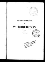 Cover of: Oeuvres complètes de W. Robertson