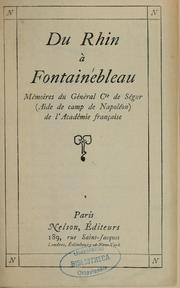 Cover of: Du Rhin à Fontainebleau