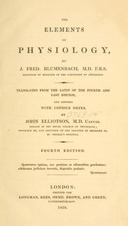 Cover of: The elements of physiology