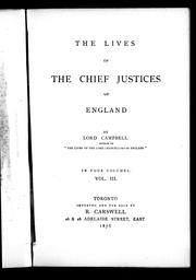 Cover of: The lives of the chief justices of England