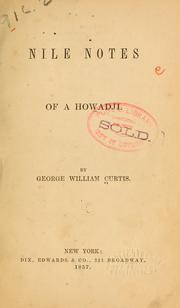 Cover of: Nile notes of Howadji