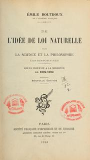 Cover of: L'Idée de loi naturelle dans la science et la philosophie contemporaines