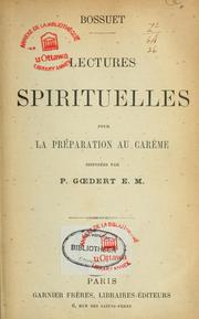 Cover of: Lectures spirituelles pour la preparation au careme