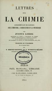 Cover of: Lettres sur la chimie
