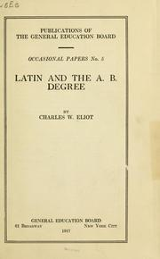 Cover of: Latin and the A. B. degree