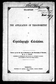 Cover of: Examples of the application of trigonometry to crystallographic calculations