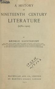 Cover of: A history of nineteenth century literature, 1780-1900