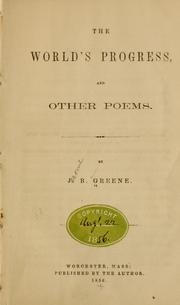 Cover of: The world's progress, and other poems