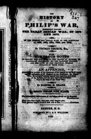 Cover of: History of Philip's war, commonly called the great Indian war of 1675 and 1676